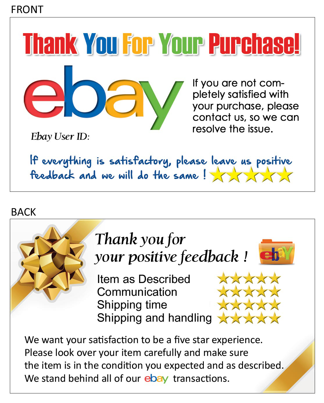 100 Thank You business card for Ebay Seller FREE SHIPPING